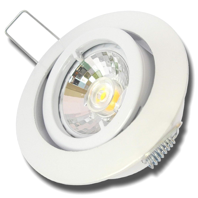 5 Stück MCOB Modul Einbaustrahler Laura 230 Volt 5 Watt Schwenkbar Weiß Warmweiß