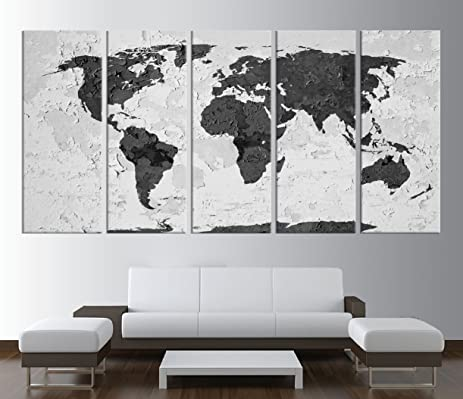Amazon rustic world map wall art canvas print large world map rustic world map wall art canvas print large world map wall art black and gumiabroncs Image collections