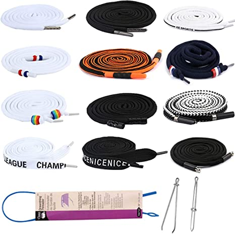 12 Pieces Multicolour Replacement Drawstrings Universal and 3 Pieces Drawstring Threader Use in Hoodies,Shorts,Shoe Laces,Sweatpants /& More 12 Pieces 3pcs Per Style