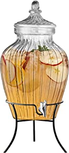 Style Setter 210324-GB Beverage Cold Drink Dispenser - Glass Jug w Metal Stand, Leak-Proof Acrylic Spigot in Gorgeous Gift Box for Parties & Celebrations, 2.75 Gallon Capacity, Clear