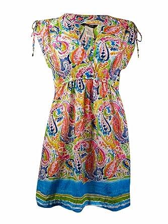 8ca70c3200 Ralph Lauren Lauren Women's Paisley Ruched Cotton Swim Cover (M, Multi) at  Amazon Women's Clothing store: