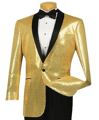 latest collection catch amazing selection VINCI Men's Sequins 1 Button Classic-Fit Tuxedo Jacket w/Black Shawl Lapel  New