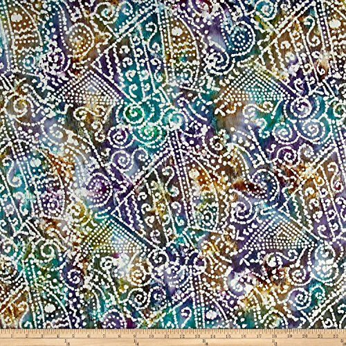 Patch Batik Print - Textile Creations Indian Batik Crinkle Cotton Print Ethnic Patchwork Purple/Teal/Natural Fabric by The Yard
