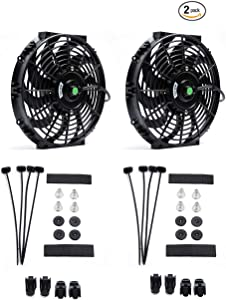 (Pack of 2) Engine Radiator Cooling Fan 12 Inch Curved Blade Ultra Thin Universal High Performance 12V 80W Motor,Radiator Fan With Fan Mounting Kit(Puller and Pusher Design)