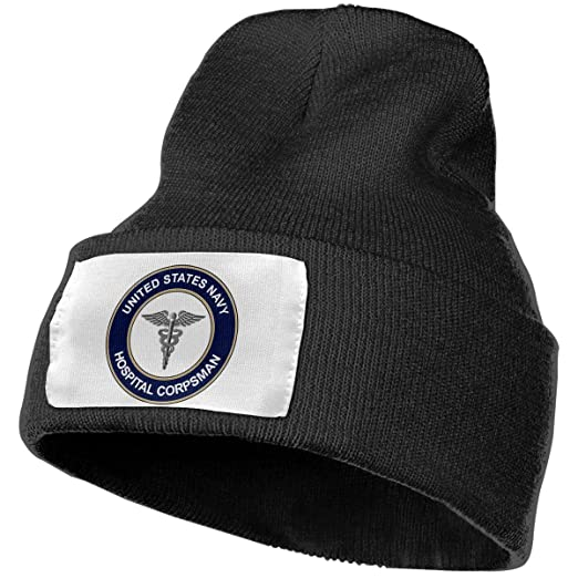 3a0844ddd43202 Image Unavailable. Image not available for. Color: Unisex Winter Hats US  Navy Hospital Corpsman Skull Caps Knit Hat Cap ...