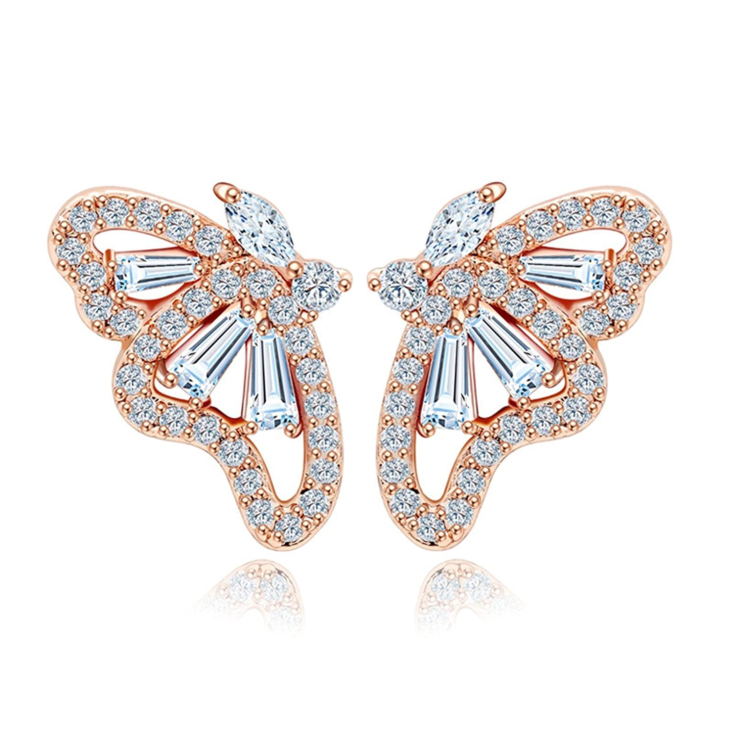 Beydodo Gold Plated Earrings Stud for Womens Rose Gold Butterfly Cubic Ziconia Wedding Earrings for Bride