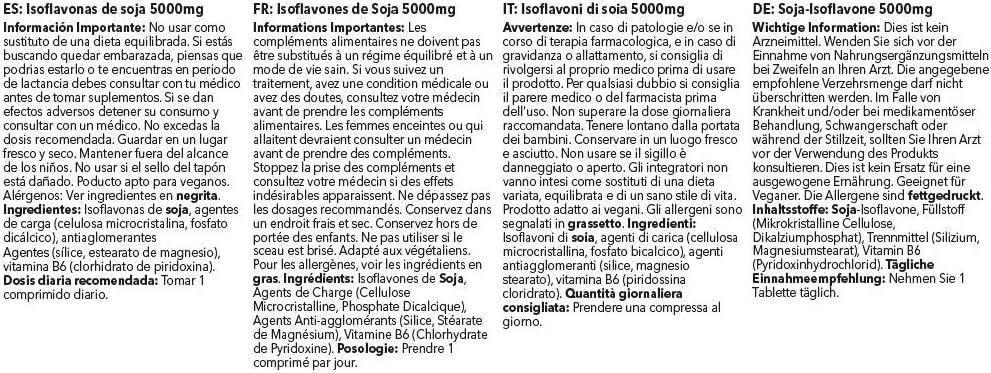 Isoflavonas de soja 5000mg - ¡Bote para 4 meses! - Apto para ...