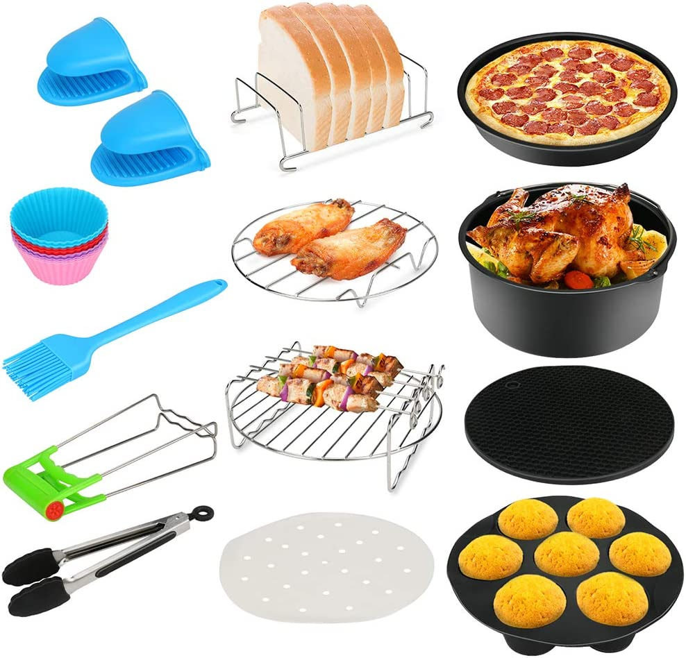 13PCS Air Fryer Accessories, BicycleStore 8 Inch Airfryer Kit Compatible for 4.2QT-6.8QT Air Fryers with Non-stick Cake Pan, Silicone Mat, Pizza Pan, Silicone Baking Cup, Skewer Rack