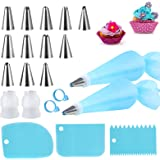 Silicone Icing Piping Bag,Reusable Cream Pastry Bag and 14× Stainless Steel Nozzle Set DIY Cake Decorating Tool(12×Nozzle, 2×