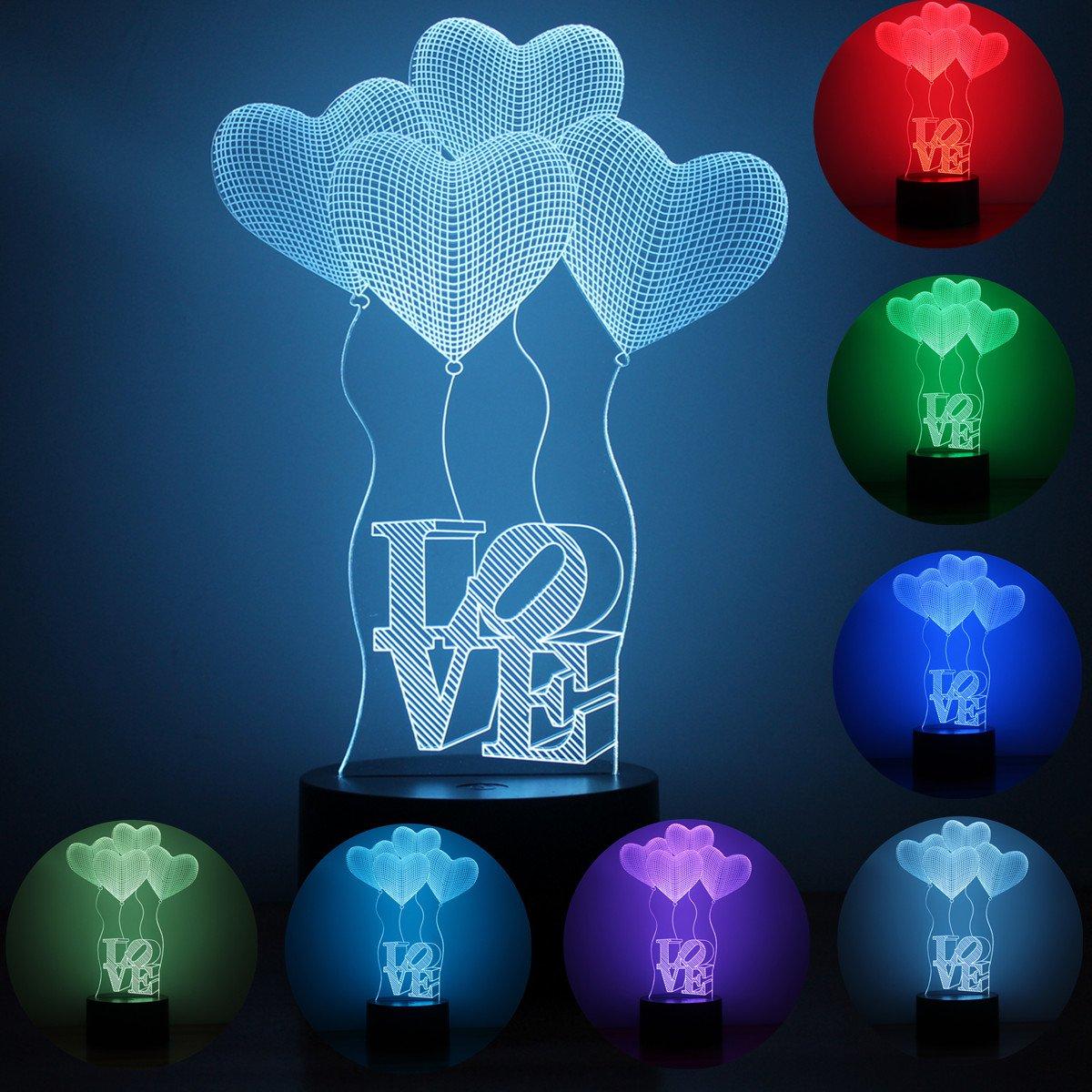 Love balloon Pattern 3D Illusion Platform Night Lighting Touch Botton 7 Color Change Decor LED Lamp For Christmas Children gift