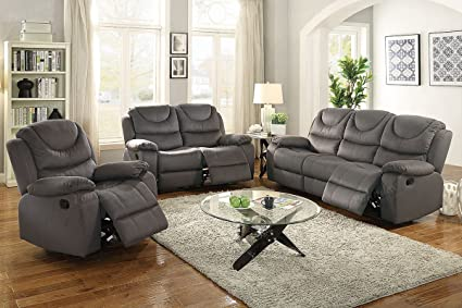 Incredible Amazon Com 3Pcs Slate Blue Leather Motion Sofa Loveseat Andrewgaddart Wooden Chair Designs For Living Room Andrewgaddartcom