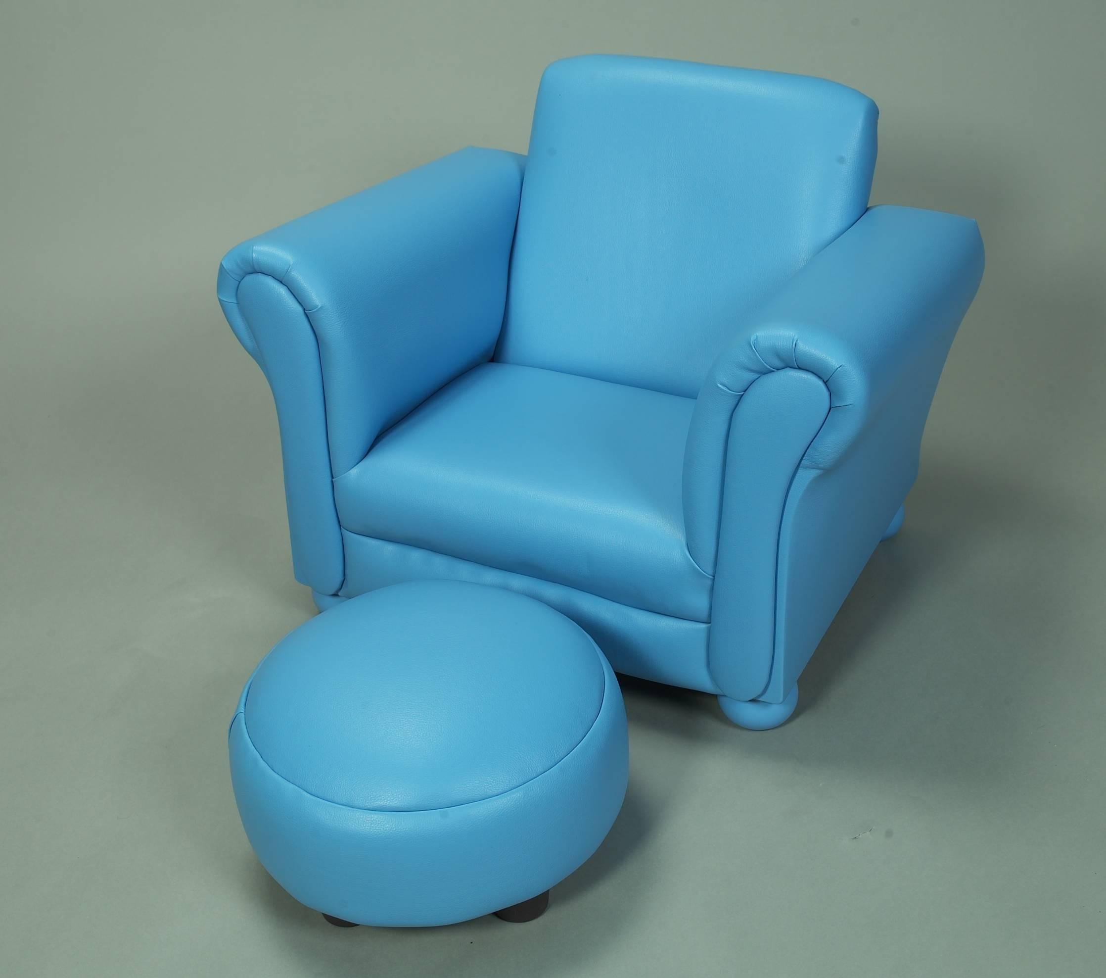 Gift Mark Child's Upholstered Chair with Ottoman, Blue