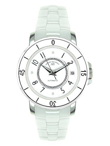 André Belfort 410113 - Reloj analógico de mujer automático con correa de cerámica blanca - sumergible a 50 metros: Amazon.es: Relojes