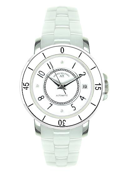 André Belfort 410113 - Reloj analógico de mujer automático con correa de cerámica blanca - sumergible