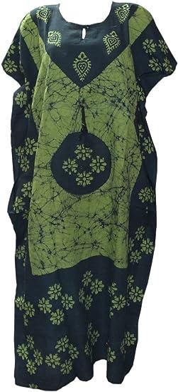 Odishabazaar Womens Indian Cotton Batik Paisely Floral Printed Kaftan Dress