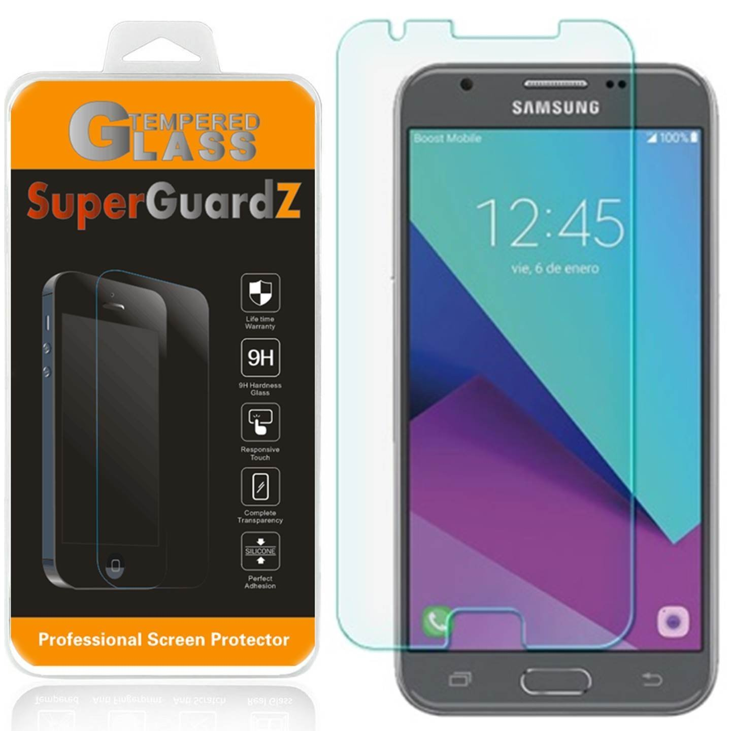 [3-Pack] Samsung Galaxy Amp Prime 2 (cricket) Screen Protector [Tempered  Glass], SuperGuardZ, 9H, 0 3mm, 2 5D Round Edge, Anti-Scratch, Anti-Bubble