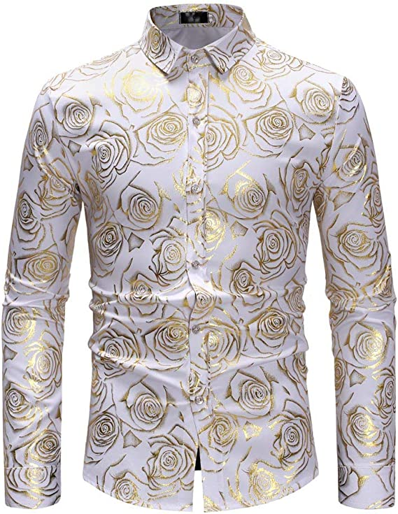 Internet-Camisa de Manga Larga con Estampado de Rosa Dorado con Cuello de Soporte pequeño de otoño e Invierno para Hombre(Blanco S-XL): Amazon.es: Ropa y accesorios