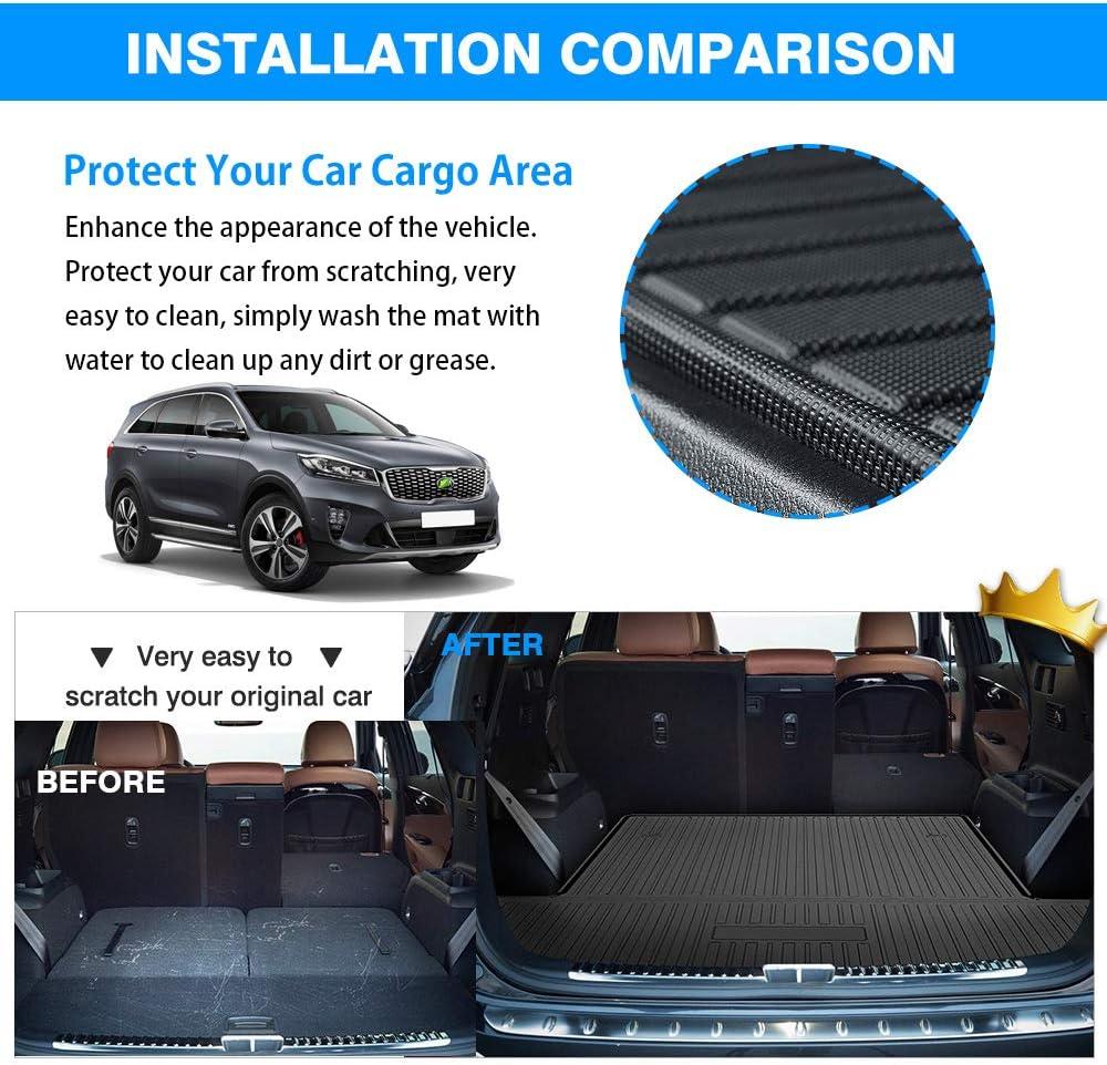Mixsuper Rear Cargo Liner 3D Upgrade Anti-Slip Durable Odorless Trunk Floor Mat for Kia Sorento 2016-2020