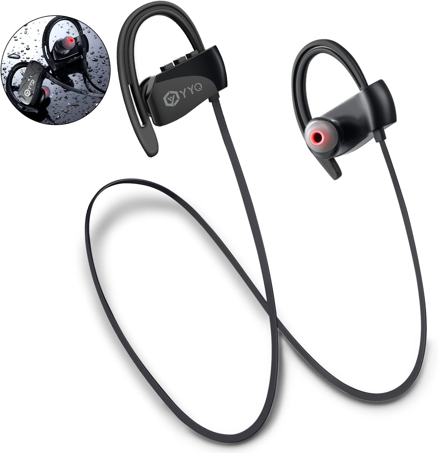 Bluetooth Headphones, M3 Wireless Sports Headset with Mic Waterproof Earphones HD Stereo Sweatproof Earbuds with Carring Case for Gym Running Workout 12 Hour Noise Cancelling (Black)
