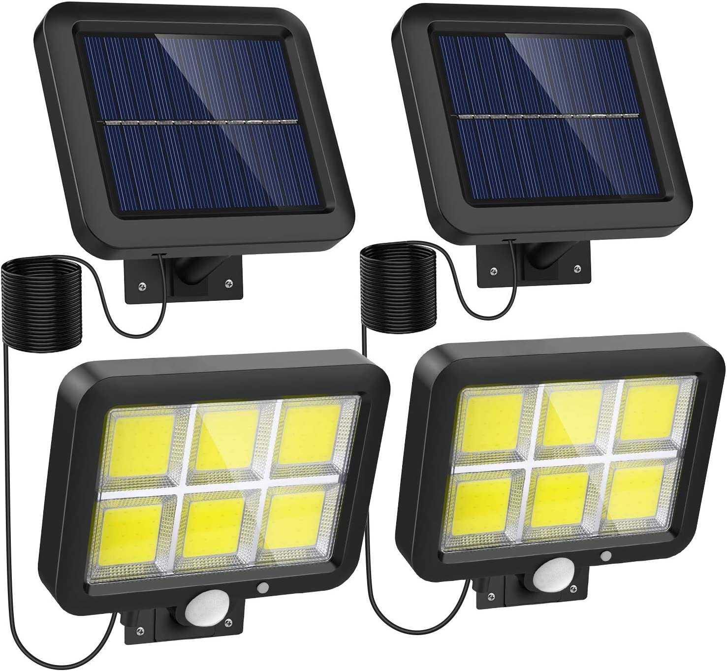Solar Lights Outdoor Motion Sensor w/ 240 Bright COB LED, 16.4Ft Cable, 3 Lighting Modes, Adjustable Solar Panel. Wired Security Solar Powered Flood Lights for Indoor & Outside Yard(5500K, 2 Pack)