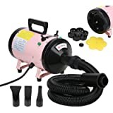 Voilamart 2800W Pet Grooming Hair Dryer High Velocity Dog Cat Hairdryers Low Noise Dryer Blaster with 2 Speed Adjustable Temperature Heater and Flexible Hose, Pink