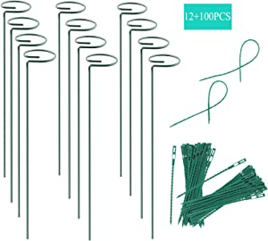 12 Pack Plant Stake Support, Garden Single Stem Support Stake Plant Cage Support Rings, Single Stem Plant Support Stakes, for Tomatoes, Peony, Lily, Rose, Flowers Amaryllis