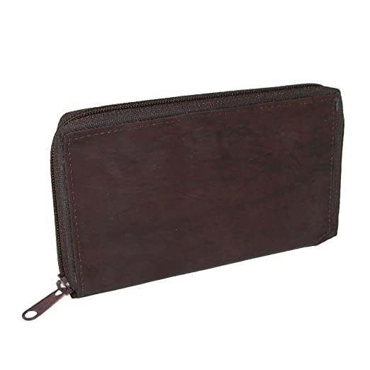 Ctm Men S Leather Zippered Credit Card Case Brown At Amazon Men S
