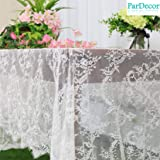 White-Lace-Tablecloth Eyelash Lace Tablecloth 60x120-Inch Bridal Mesh Fabric Embroidered Tulle Table Cloth Wedding…