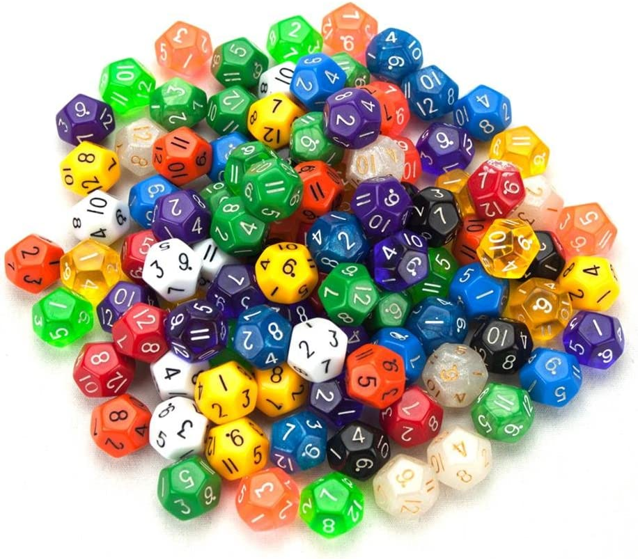 Wiz Dice 100+ Pack of Random D12 Polyhedral Dice in Multiple Colors by by: Amazon.es: Deportes y aire libre