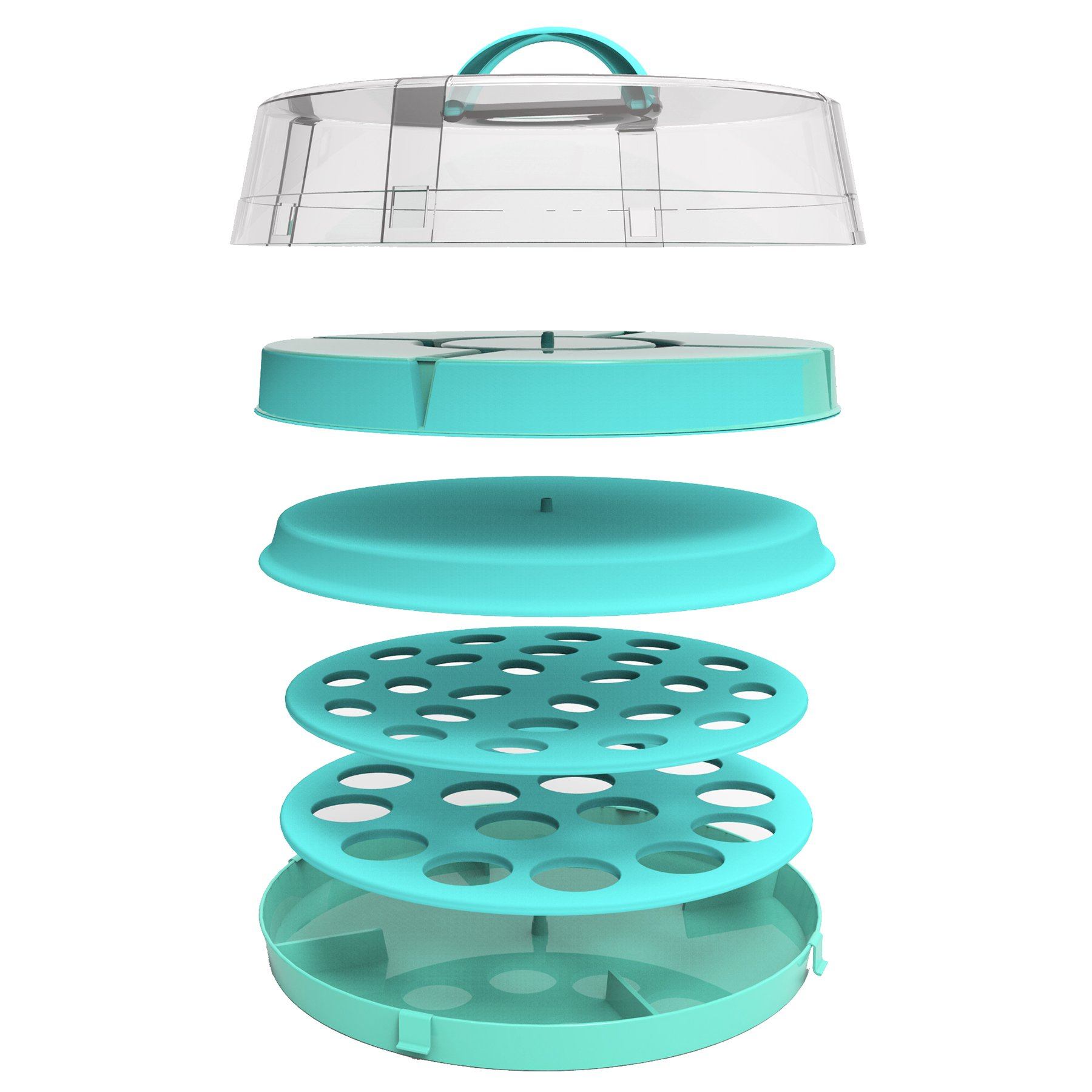 4-in-1 Cake Carrier - kitchen safe locking container - cupcake caddy - cake plate with dome - dessert tray and cover - Locking lid pies container bundt cake holder by DOTERNITY (Image #3)