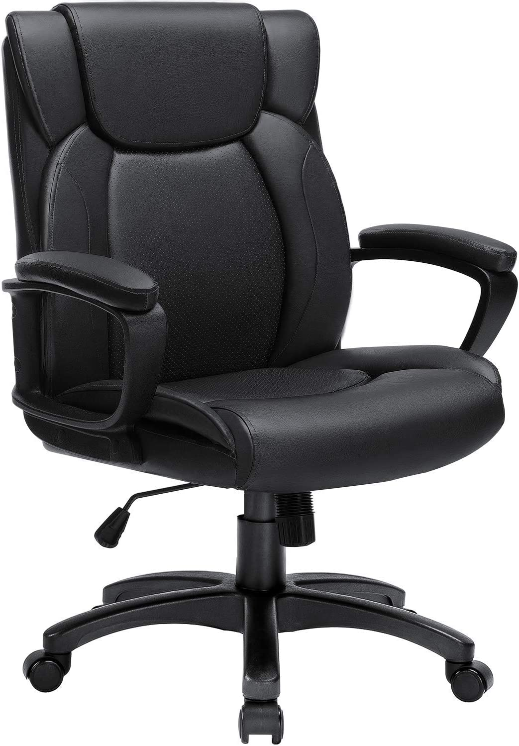 BOSSIN Mid-Back Executive Office Chair Leather Computer Desk Chair with Armrest,Swivel Ergonomic Task Chair with Lumbar Support,Thick Padded Rolling Chair for Adults (Mid-Back, Black)