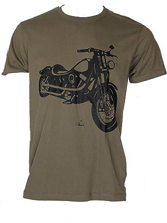 HARLEY2 Talla XS Camiseta Verde Militar de Hombre Manga Corta ...