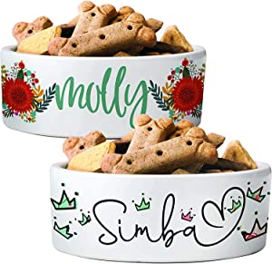 Personalized Dog Bowls with Your Pet's Name - 15 Designs, 2 Sizes - Ceramic Pet Bowl - Water and Food Bowls - Custom Cat Bowl - Pet Supplies, Dog Supplies, Cat Supplies, Feed Bowls for Dogs