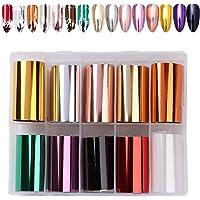EBANKU 10 rollen metallic kleur holografische nagel folie transfer sticker, nagelfolie zelfklevende sticker, nail art…