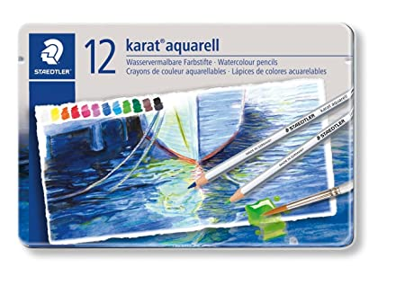 Staedtler 125 M12 - karat aquarell Farbstift, wasservermalbar, 12 Stück Etui