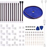 5050 4Pin LED Strip Connector Kit - 10mm RGB LED Connector Kit Includes 32.8FT RGB Extension Cable, 12x LED Strip Jumper…