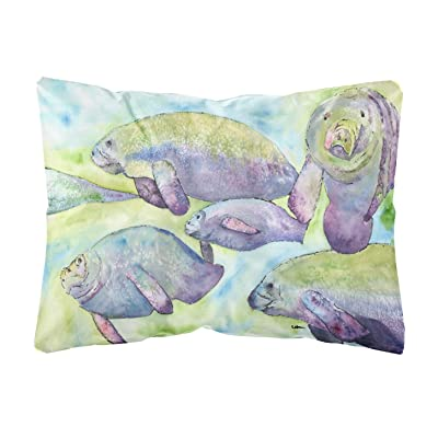 Caroline's Treasures 8544PW1216 Manatee Canvas Fabric Decorative Pillow, 12H x16W, Multicolor : Garden & Outdoor