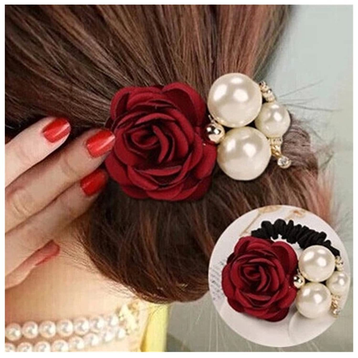 Lovef 4Pcs Korean Fashion Pearl Hair Rope Rose Flower Hair band Rhinestone Hair