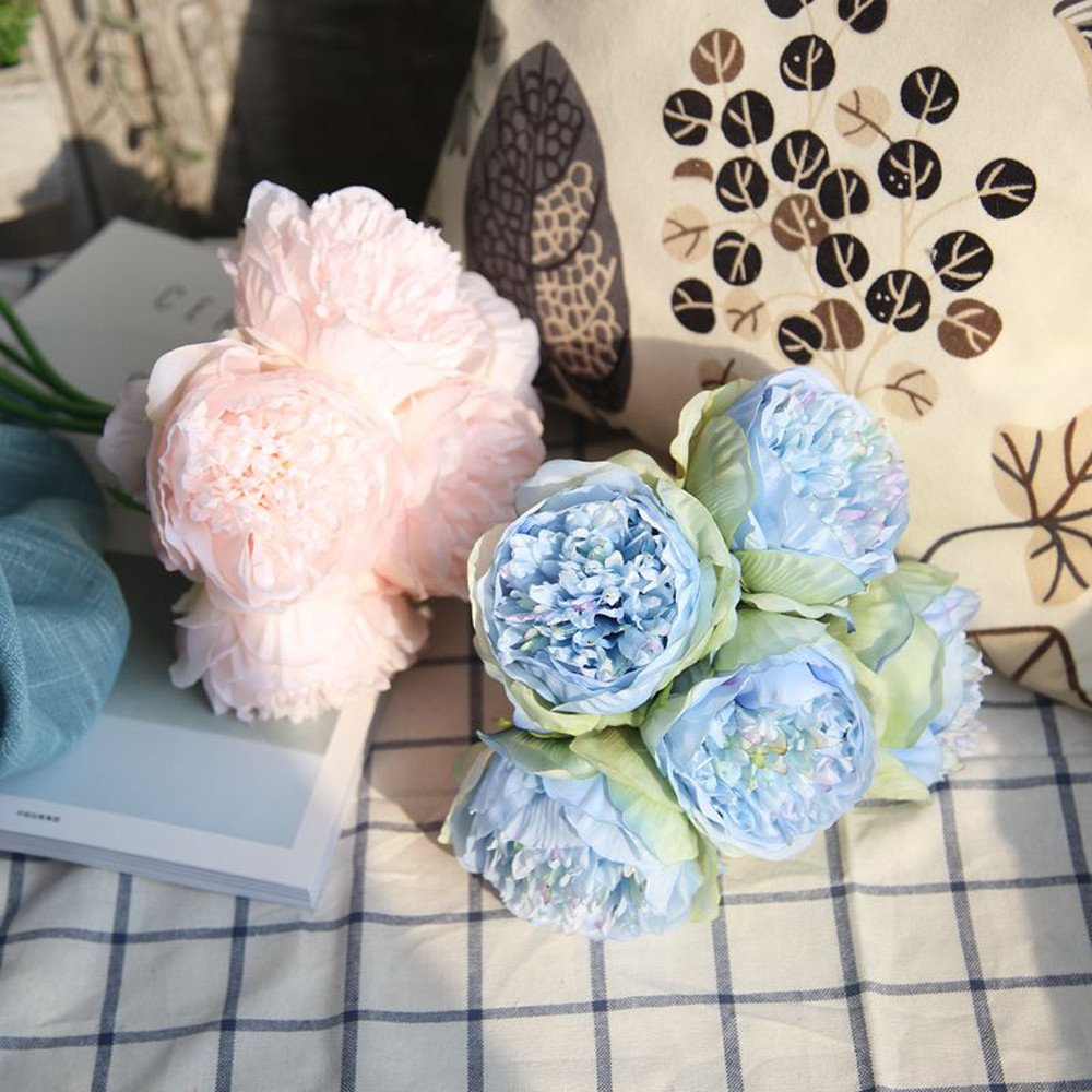 A=5pcs Vintage Artificial Peony Silk Peonies Fake Flowers Tulip Bouquet Floral Hanging Flowers Artificial Violet Flower Wall Wisteria Garland Orchid for Wedding Party Home Decor