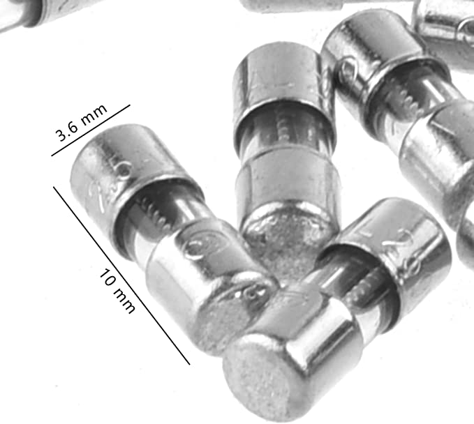 3.6 x 10mm T2.5A Bluecell World BCP Pack of 50 Mini Micro 3.6 x 100mm Slow Blow Glass Fuse