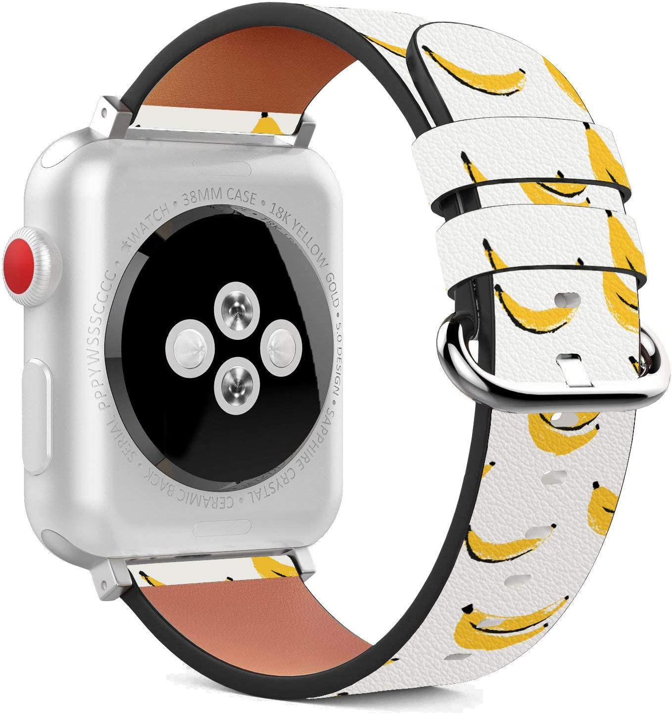 Compatible with Apple Watch - 38mm / 40mm (Serie 5,4,3,2,1) Leather Wristband Bracelet with Stainless Steel Clasp and Adapters - Yellow Banana