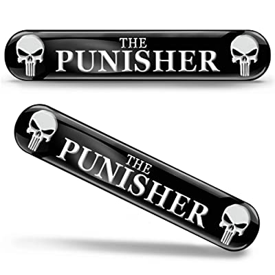 2 x 3D Gel Stickers Punisher Emblem Logo KS 109: Automotive