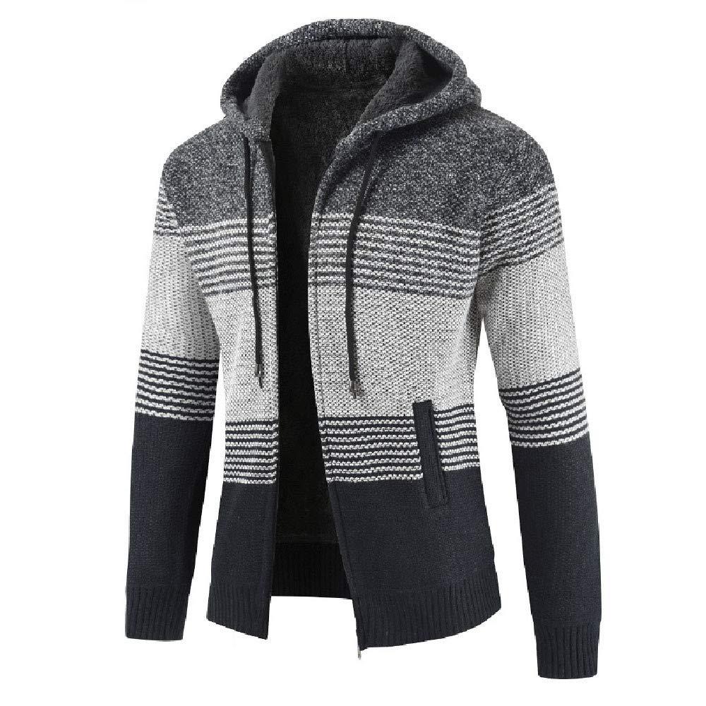 Ximandi Mens Winter Striped Zipper Up Hooded Thick Jacket Male Slim Fit Cardigan Coat