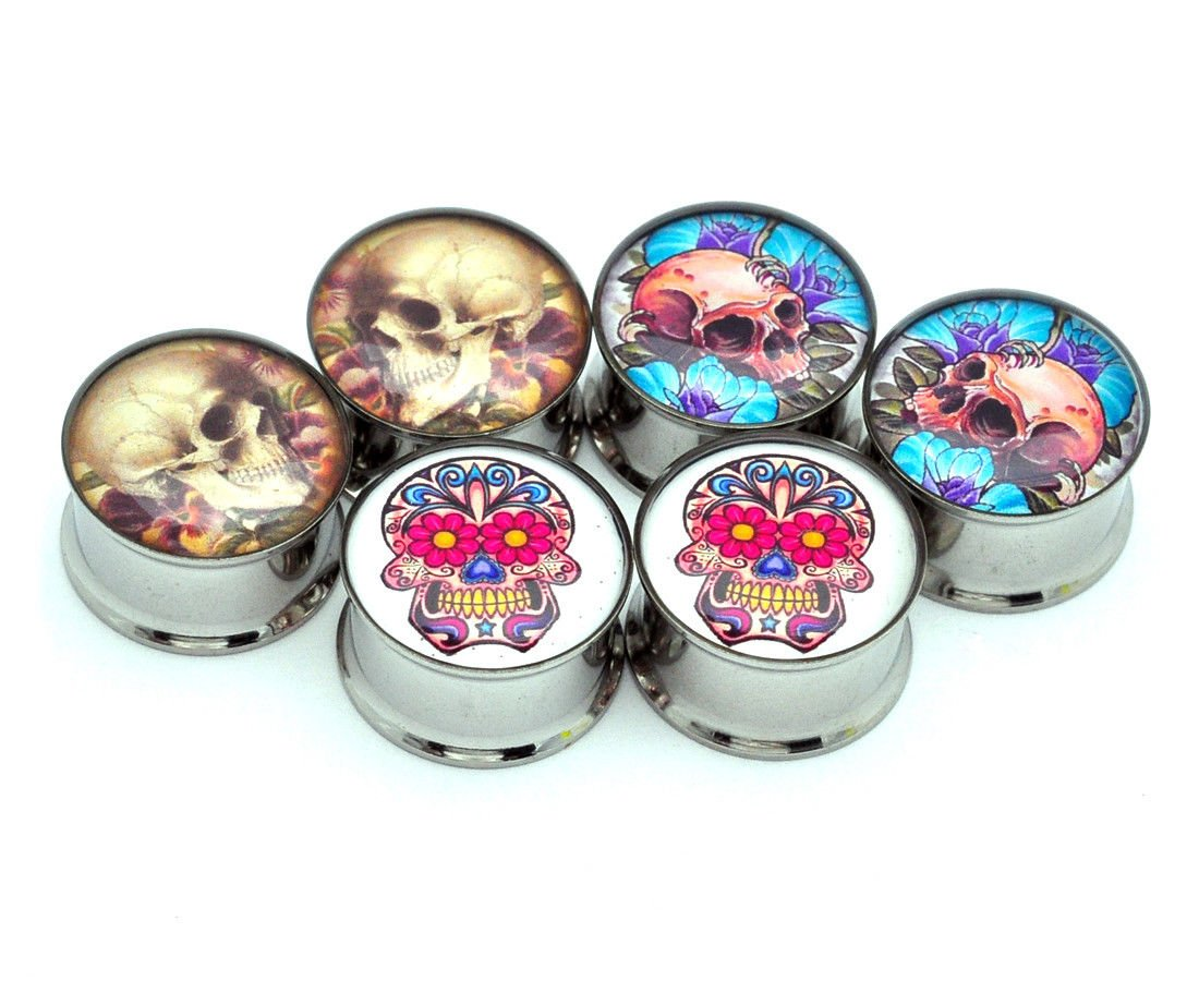 nugroho_mys Day The Dead - Set of 3 Pairs Double Flare Picture Plugs gauges (1'' - 25mm) by nugroho_mys