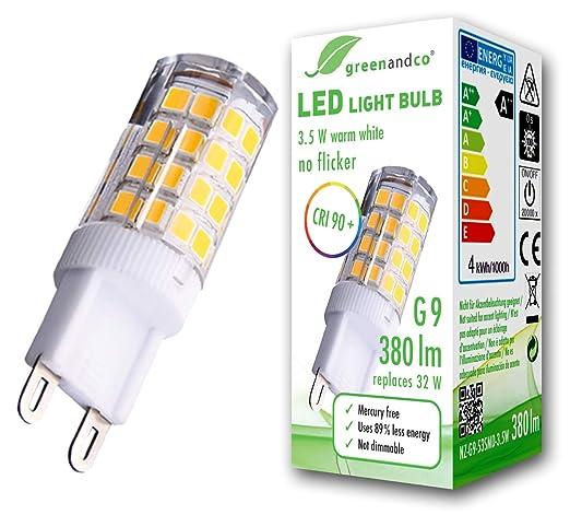 greenandco® CRI90+ LED Lampe flimmerfrei ersetzt 32W G9 3,5W 380lm 3000K warmweiß 300° 230V, nicht dimmbar, 2 Jahre Garantie