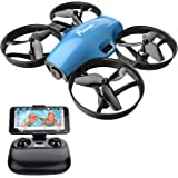 Potensic FPV RC Drone with Camera 720P HD, Portable Quadcopter 2.4G 6 Axis-Remote Control, Altitude Hold, Headless, Route Setting, Speed Mode, One-Key Take-Off/Landing, Detachable Battery A30W -Blue