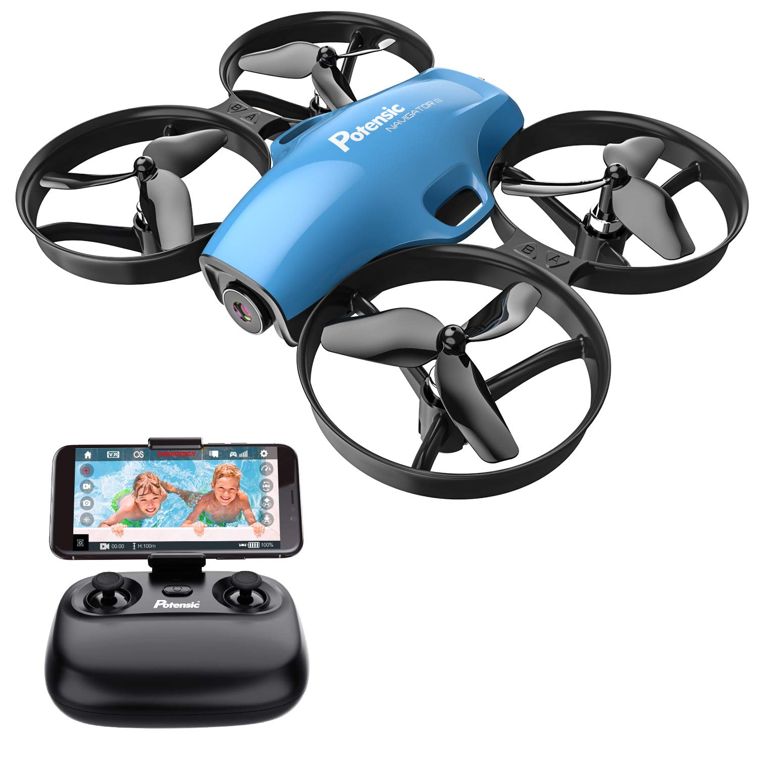 Potensic A30W WiFi FPV Drone 720P HD Camera, RC Quadcopter for Beginners with Altitude Hold, Headless Mode, One Button Take Off/Landing, Emergency Stop-Blue by Potensic