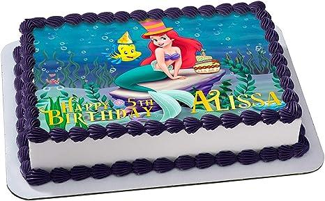 Super Amazon Com The Little Mermaid Birthday Cake Personalized Cake Birthday Cards Printable Giouspongecafe Filternl