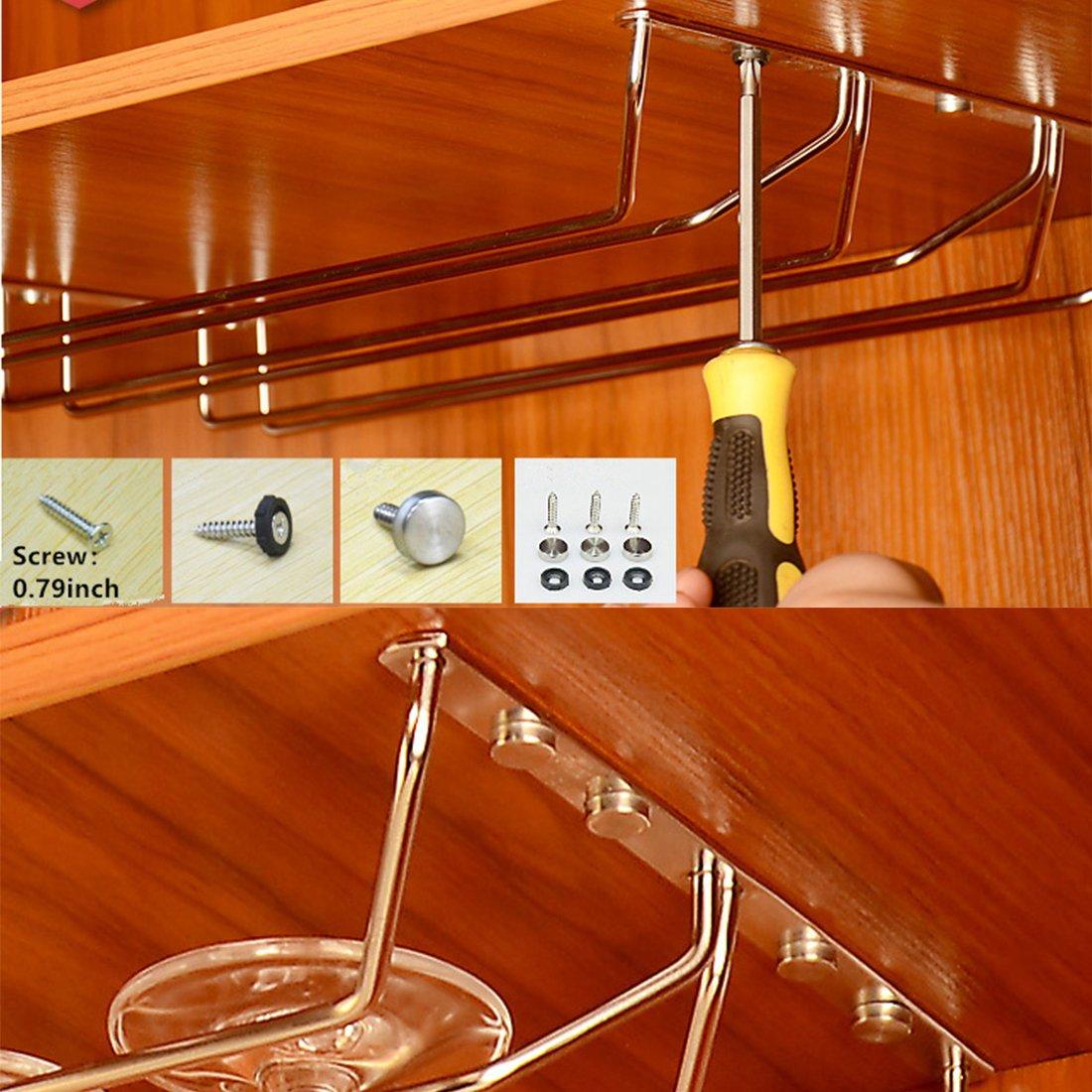 Porte-verre /à vin en acier inoxydable 304 sous le meuble en verre /à vin en acier inox