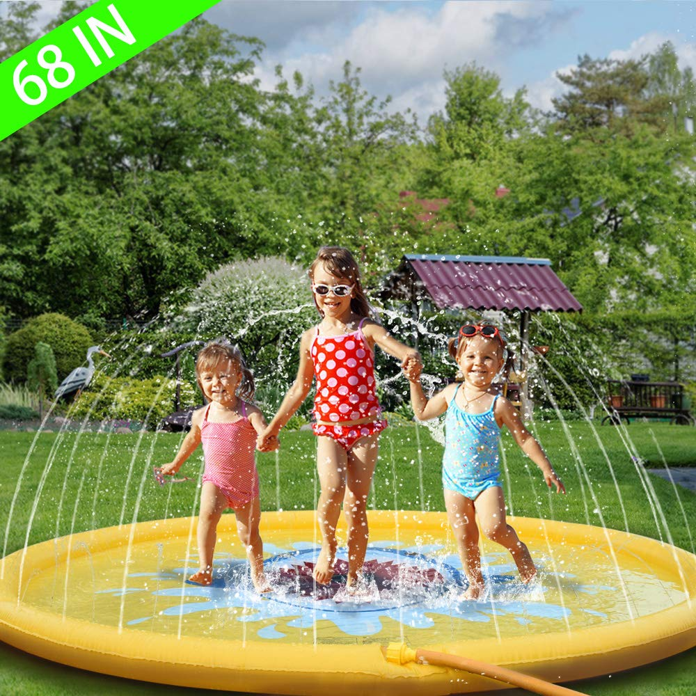 Sprinkler for Kids 68'' Outdoor Water Toys for 2 3 4 5 6 7 8 Year Old Boy Girl Sprinkler Pool for Kids Toddler Baby Sprinkler-Splash-Pad--Water-Toys by WOT I